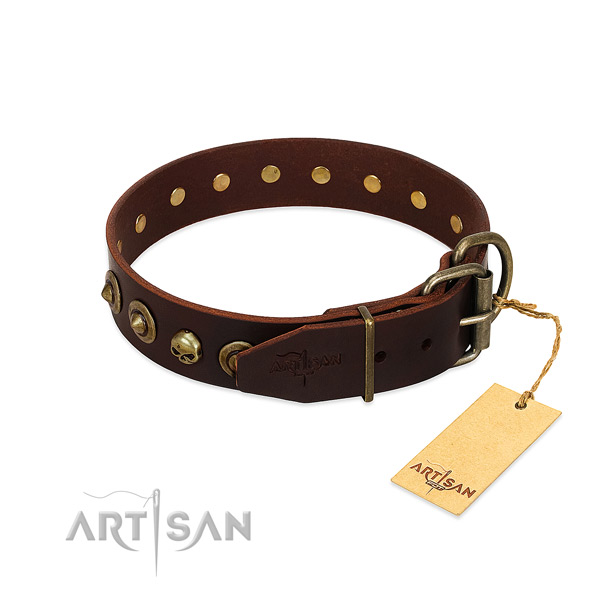 Leather collar with extraordinary decorations for your doggie