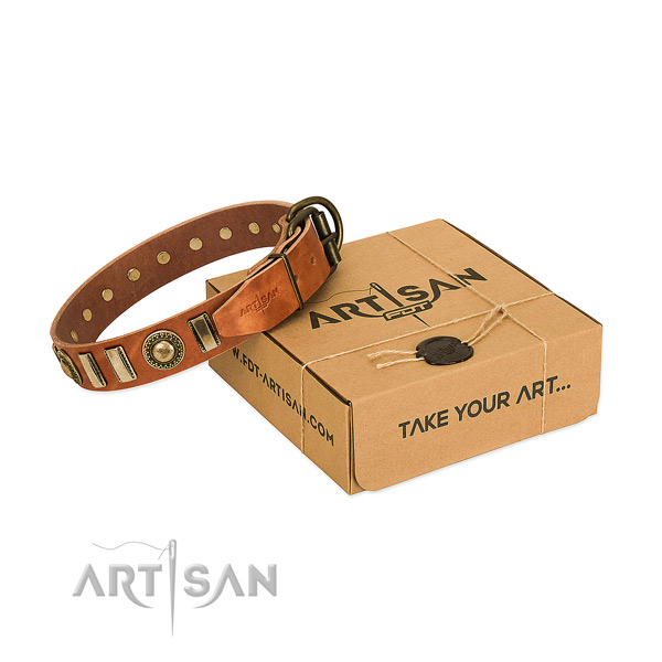 Soft to touch full grain leather dog collar with rust-proof hardware