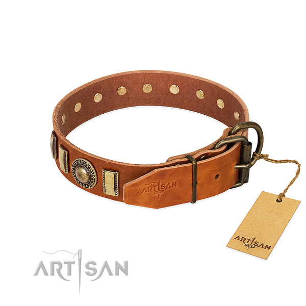 Easy adjustable leather dog collar with durable D-ring