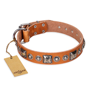 """Era of Future"" FDT Artisan Handcrafted Tan Leather English Bulldog Collar with Decorations"