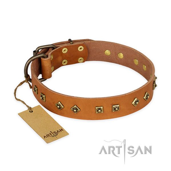 Embellished full grain genuine leather dog collar with durable traditional buckle