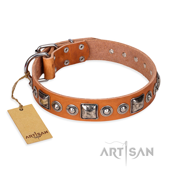 Full grain leather dog collar made of top rate material with corrosion proof D-ring