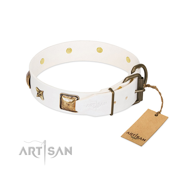 Natural genuine leather dog collar with corrosion proof buckle and studs