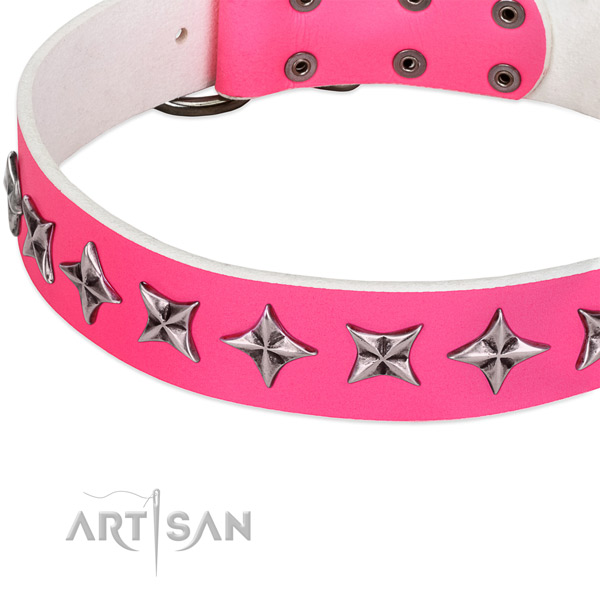 Comfy wearing embellished dog collar of durable full grain genuine leather
