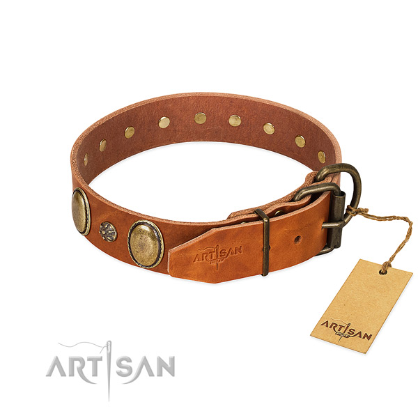 Daily walking soft genuine leather dog collar