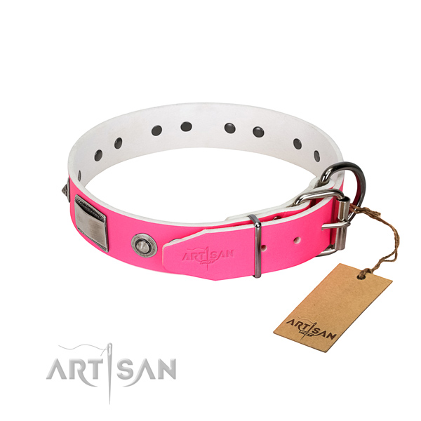 Amazing full grain genuine leather collar with decorations for your doggie
