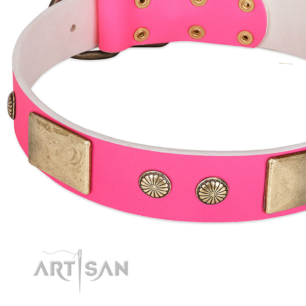Rust-proof fittings on full grain genuine leather dog collar for your doggie