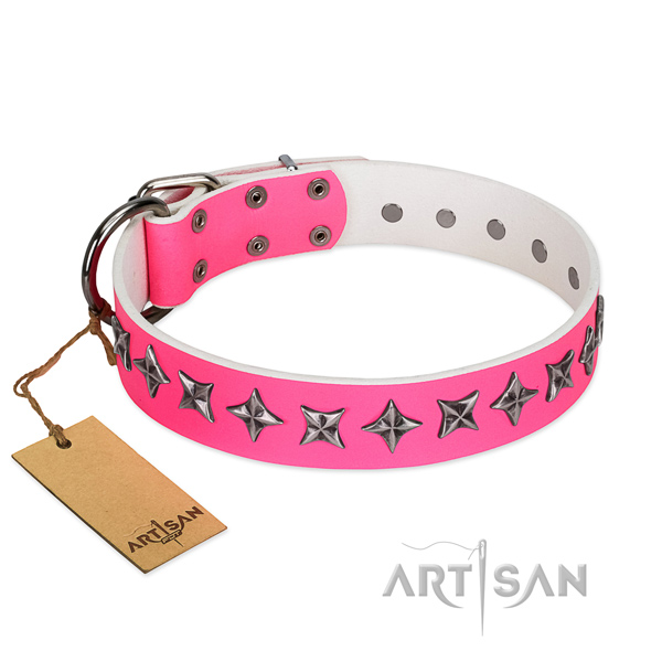 High quality natural leather dog collar with incredible studs