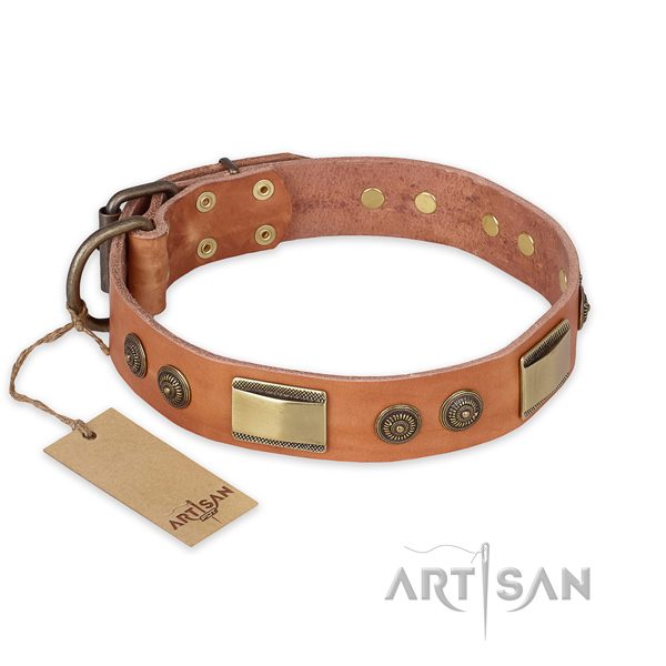 Exquisite full grain genuine leather dog collar for daily use