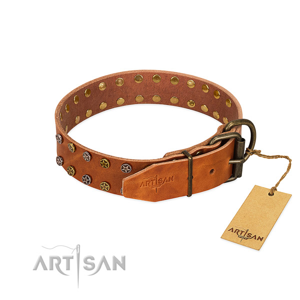 Everyday use full grain genuine leather dog collar with exquisite decorations