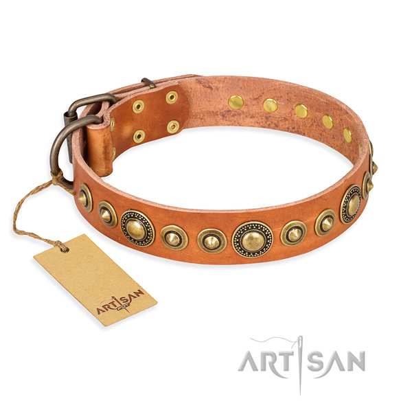 Flexible natural genuine leather collar created for your canine