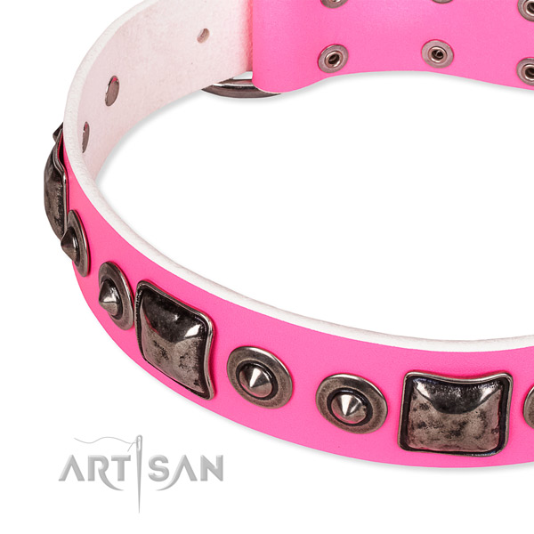 Soft to touch full grain natural leather dog collar handcrafted for your attractive four-legged friend