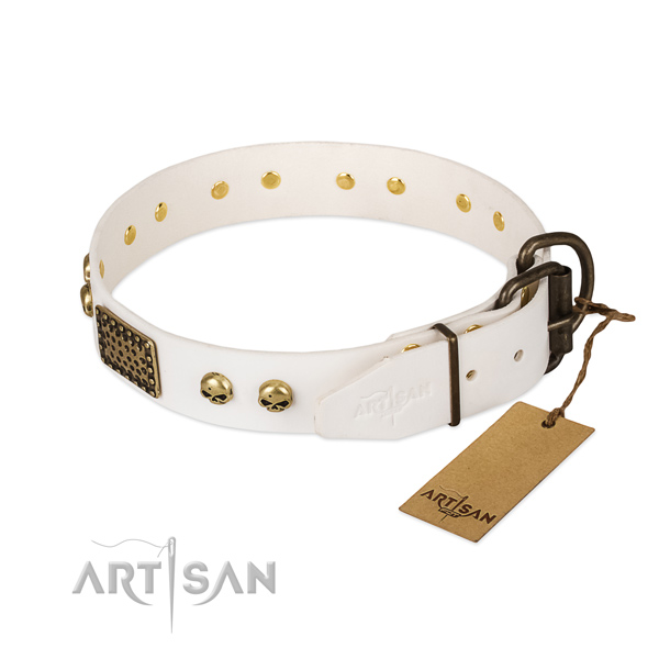 Easy adjustable leather dog collar for stylish walking your doggie