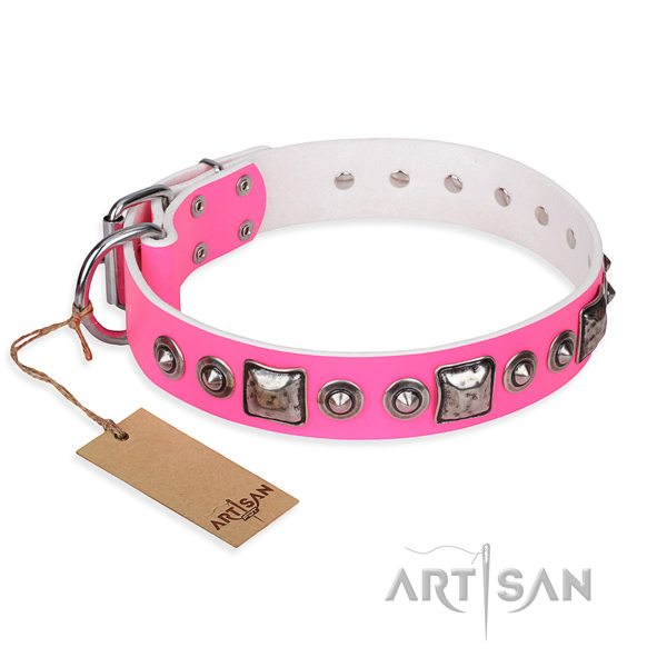 Leather dog collar made of soft material with rust resistant D-ring