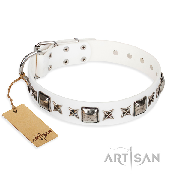 Genuine leather dog collar made of best quality material with corrosion resistant traditional buckle