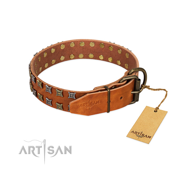 Quality full grain natural leather dog collar made for your canine