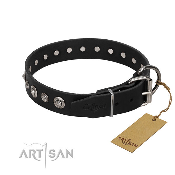 Reliable genuine leather dog collar with unique studs
