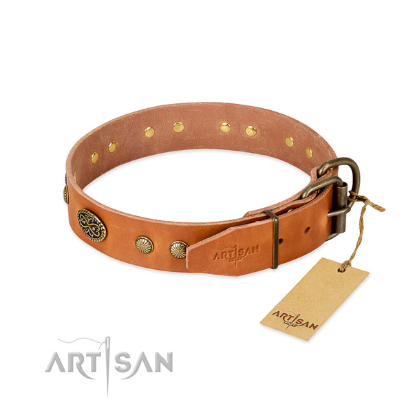 Reliable fittings on full grain natural leather dog collar for your canine