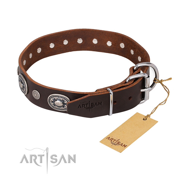 Soft full grain genuine leather dog collar handcrafted for daily walking