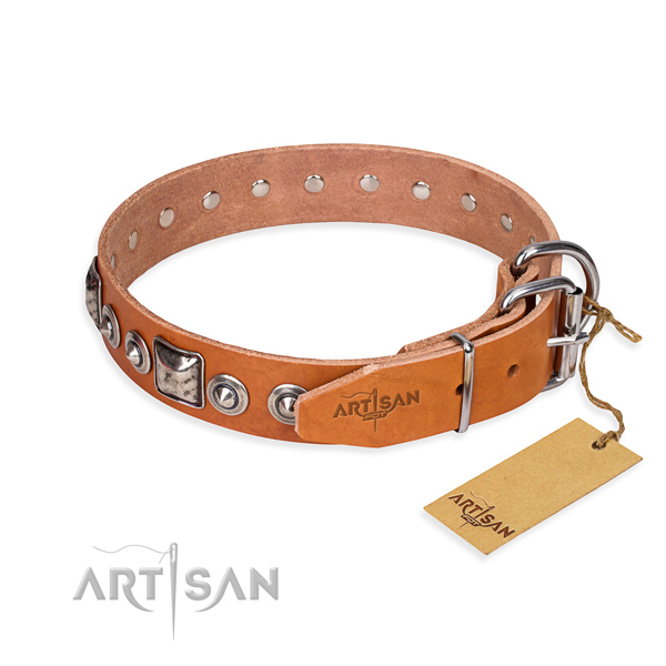 Durable leather dog collar made for fancy walking