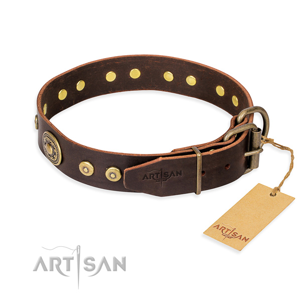 Leather dog collar made of quality material with durable decorations