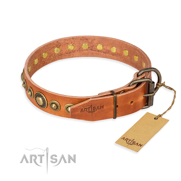 Top notch natural genuine leather dog collar made for comfy wearing