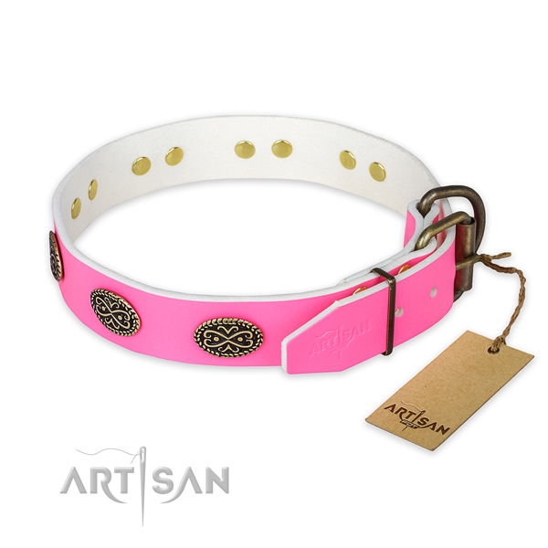 Walking full grain genuine leather collar with decorations for your dog