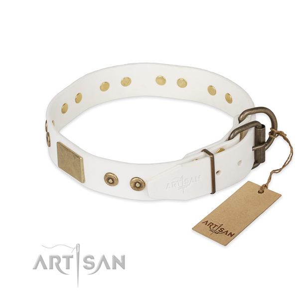 Full grain genuine leather dog collar with corrosion proof hardware and adornments