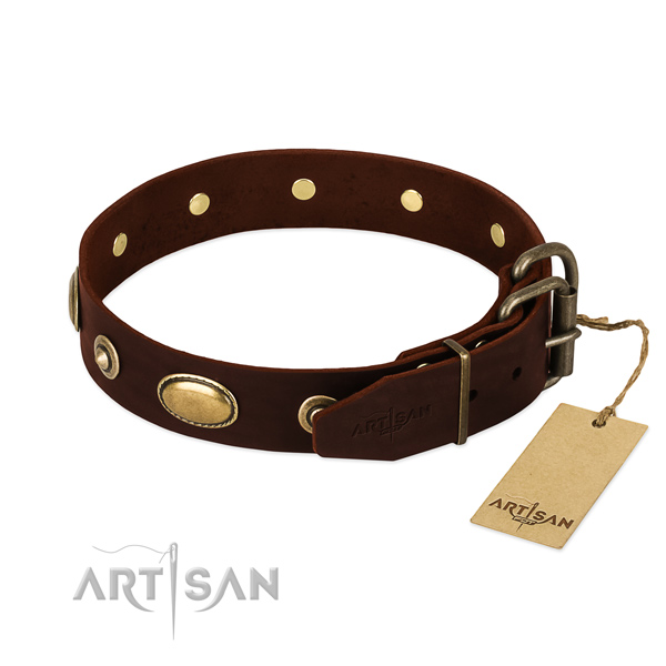 Corrosion resistant D-ring on full grain natural leather dog collar for your doggie