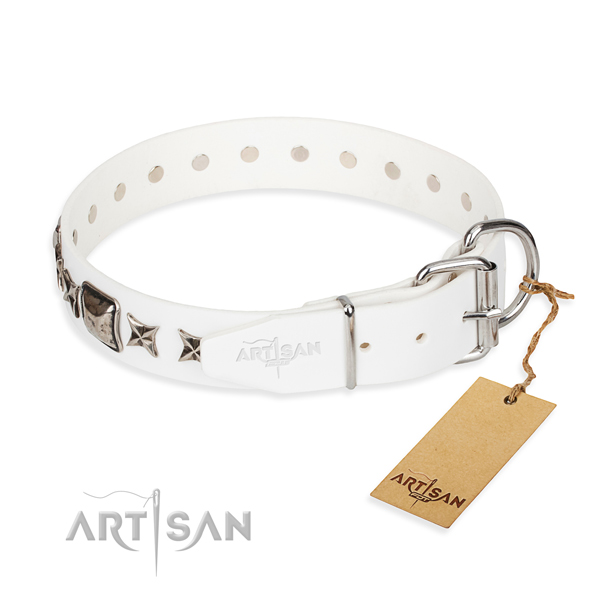 Fine quality adorned dog collar of natural leather
