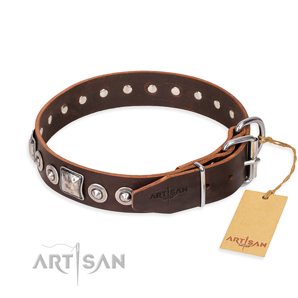 Full grain genuine leather dog collar made of gentle to touch material with reliable decorations