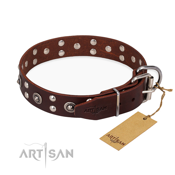 Reliable buckle on leather collar for your impressive pet