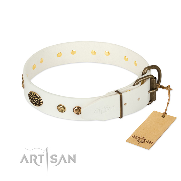 Rust resistant traditional buckle on full grain natural leather dog collar for your four-legged friend