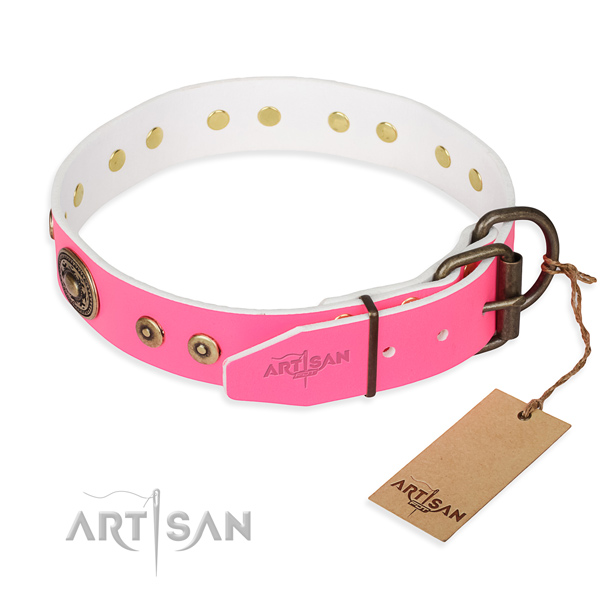Genuine leather dog collar made of top rate material with corrosion proof decorations