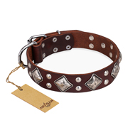 """King of Grace"" FDT Artisan Stylish Leather English Bulldog Collar with Old Silver-Like Plated Decorations"