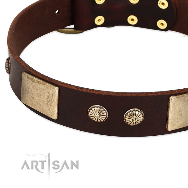 Strong hardware on full grain genuine leather dog collar for your doggie