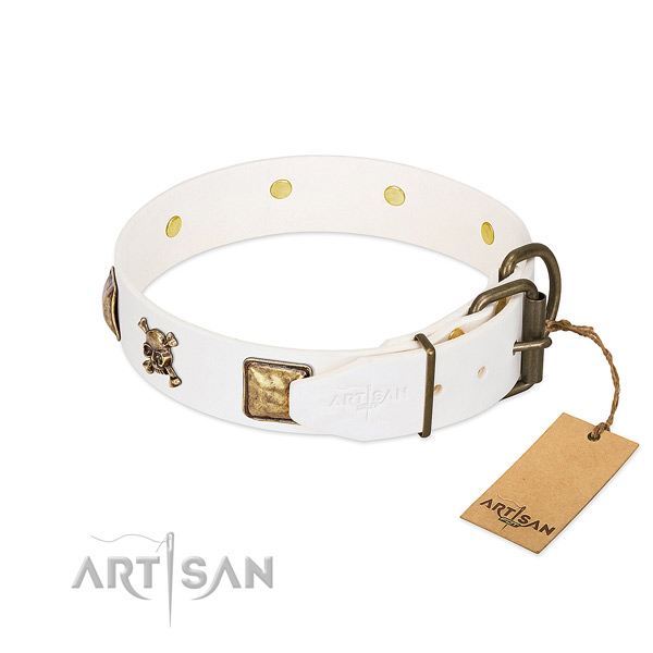Impressive full grain natural leather dog collar with reliable decorations