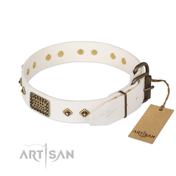 Full grain genuine leather dog collar with reliable traditional buckle and embellishments