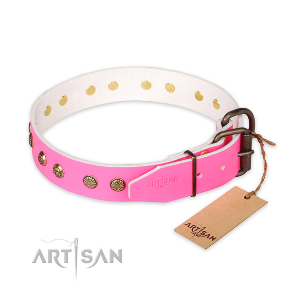 Rust-proof traditional buckle on genuine leather collar for your handsome pet