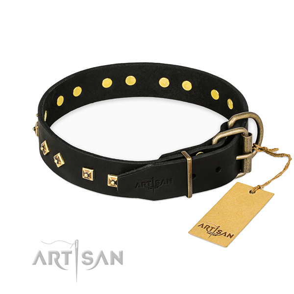 Corrosion proof buckle on genuine leather collar for everyday walking your canine