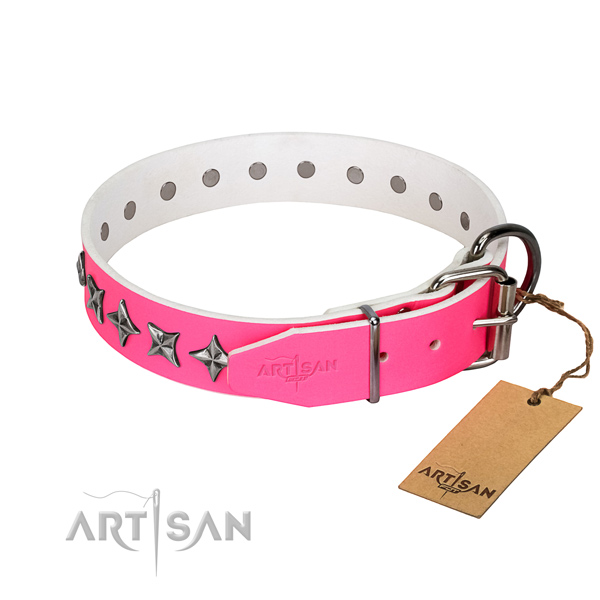 Finest quality natural leather dog collar with exquisite decorations