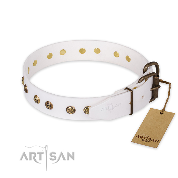 Rust resistant traditional buckle on full grain leather collar for your attractive dog