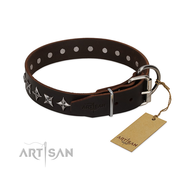 Everyday use embellished dog collar of fine quality full grain genuine leather