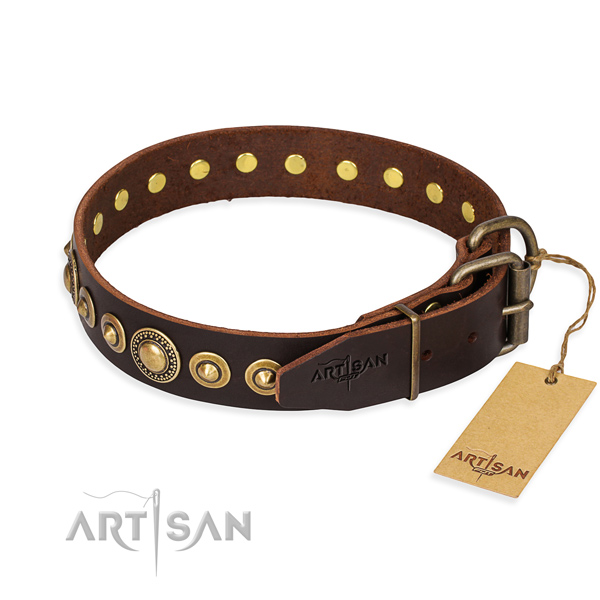 Top rate full grain genuine leather dog collar crafted for easy wearing