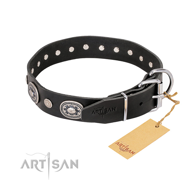 High quality full grain natural leather dog collar handmade for daily walking