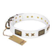 """Hour of Triumph"" FDT Artisan White Leather English Bulldog Collar"