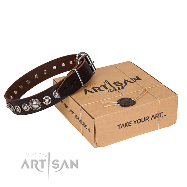 Genuine leather dog collar made of soft material with corrosion resistant hardware