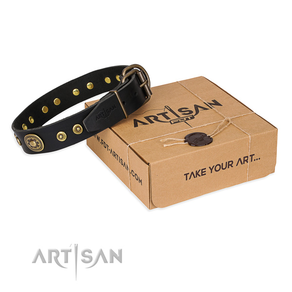 Full grain genuine leather dog collar made of flexible material with rust-proof D-ring