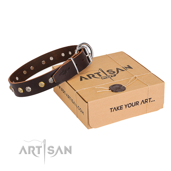 Gentle to touch leather dog collar created for easy wearing