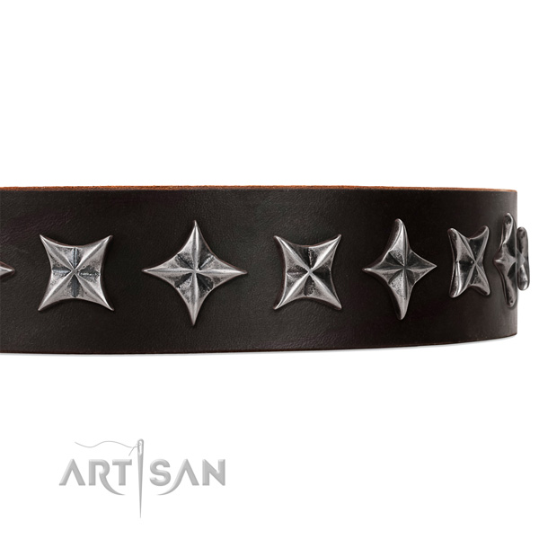 Easy wearing studded dog collar of best quality full grain leather